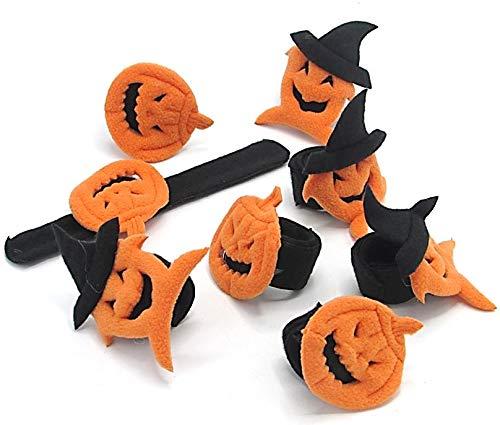 Dazzling Toys Halloween Pumpkin Designed Slap Bracelets | Wristband for Halloween Decoration - Party Favors - Costume Accessory | Set of 8 Slap Bracelets
