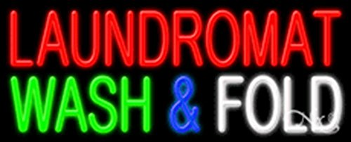 (13x32x3 inches Laundromat Wash & Fold NEON Advertising Window Sign)