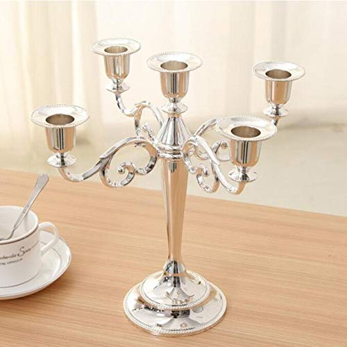 Roza Candle Holders Silver Gold Bronze Color 3 & 5 Arms Candelabra Taper Candle Holders Chandeliers Wedding Centerpieces 1 PCs