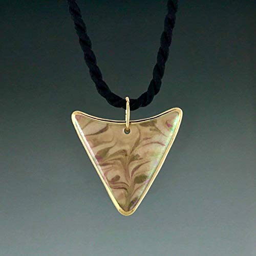 Triangle arrowhead shape earth tone brown porcelain pendant with 22K gold trim -