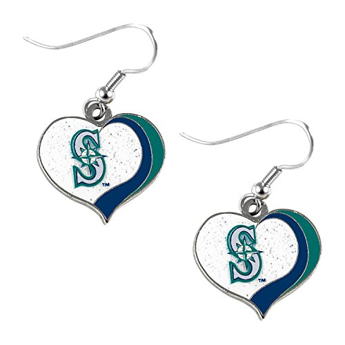 MLB Seattle Mariners Glitter Swirl Heart Earrings