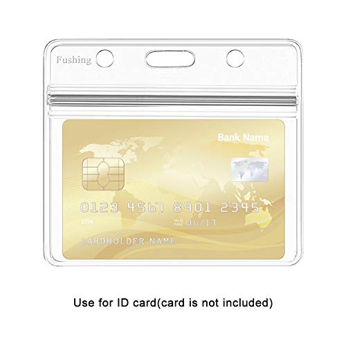 100 Pcs Clear Plastic Horizontal Name Tag Badge ID Card Holders by Fushing (Image #2)