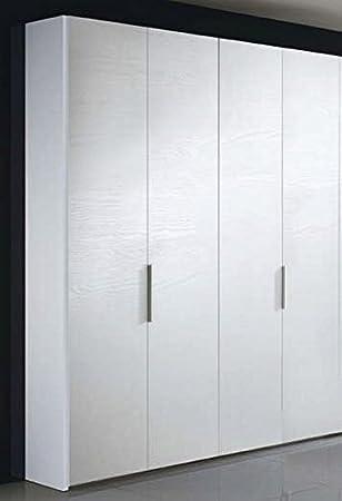 Liderasta - Armario de 4 puertas, color blanco, fresno de poro abierto: Amazon.es: Juguetes y juegos