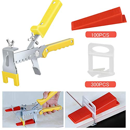 Premium Tile Leveling System with Push Pliers, 300PCS 1/16 Inch Leveler Spacers Clips & Reusable 100PCS Wedges, DIY Tile Tools Set for Floor & Wall Construction by Tanek