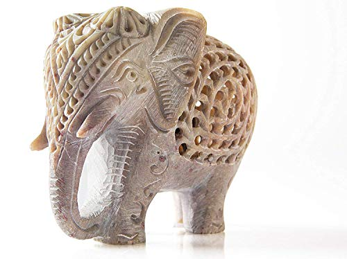 Nirvana Class Handmade Stone Lucky Elephant Figurine Animal Statue in Jali Or Openwork from a Single Block of Stone Home Decor (Home Statues Elephant For)