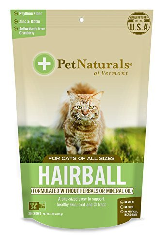 Pet Naturals Hairball, for Cats, 8 Pack (30 Chews, 1.59 oz (45 g)) Vermont, Hairball by Pet Naturals