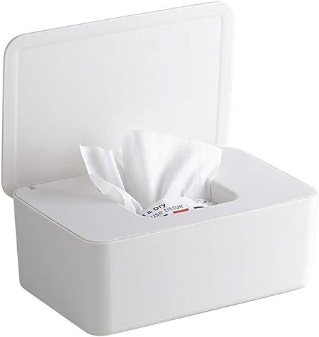 Gobesty Caja dispensadora de toallitas húmedas, caja de almacenamiento antideslizante para tejidos de bebé Caja de toallitas para pañales con tapa para oficina en el hogar, blanco: Amazon.es: Bebé