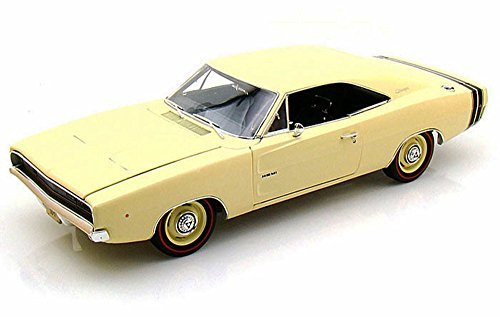 Ertl Diecast Model Car - 1968 Dodge Charger R/T, Yellow - Auto World ERTL AMM972 - 1/18 scale Diecast Model Toy Car