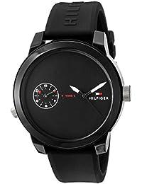 Men's 'Denim' Quartz Plastic and Rubber Casual Watch, Color:Black (Model: 1791326)