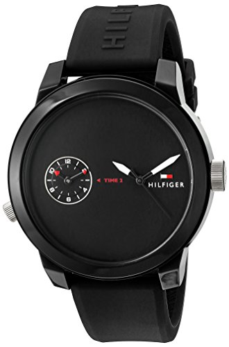 Tommy Hilfiger Men's 'Denim' Quartz Plastic and Rubber Casual Watch, Color Black (Model: 1791326) by Tommy Hilfiger