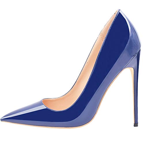 Heels High Leather Navy (Lovirs Womens Navy Pointed Toe High Heel Slip On Stiletto Pumps Wedding Party Basic Shoes 5 M US)