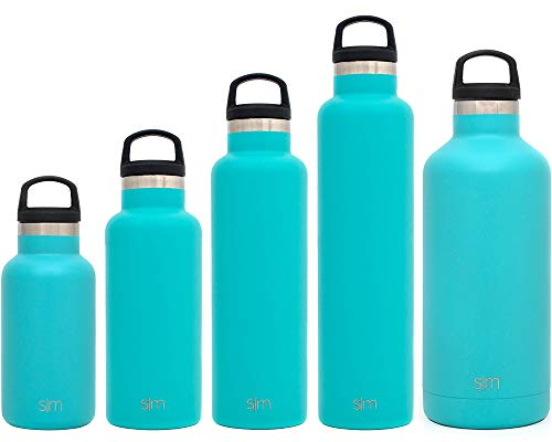 Simple Modern 32oz Ascent Water Bottle - Stainless Steel Hydro Swell Flask w/Handle Lid - Metal Double Wall Vacuum Insulated Teal Reusable Tumbler Aluminum 1 Liter Cold Leak Proof - A Caribbean -  ASC-32-CB
