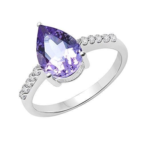 Genuine Pear Shape Amethyst Solitaire Ring Solid .925 Sterling Silver For Women Girls (Size-9)