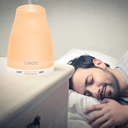 CIMOXI 160ml Mini Essential Oil Diffuser, Ultrasonic Aromatherapy Diffuser Cool Mist Humidifier 7 Color-changing LED Lights Auto Shut-off Adjustable Mist Modes for Home Office Spa Yoga and Baby Room by CIMOXI (Image #5)