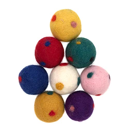 Three Drops of Life Wool Ball Cat Toys, Eco Friendly Safe for Cats, Ferrets and Small Dogs, Safe Pet Balls for Indoor and Outdoor Use, Mini 1.75 Inch Felted 8 - Wool Drop