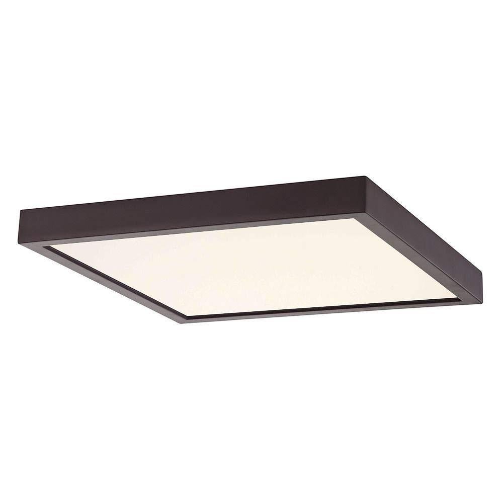 Flat LED Light Surface Mount 10-inch Square Bronze 2700K 1495LM