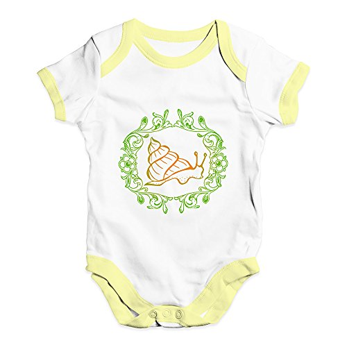 TWISTED ENVY Funny Infant Baby Bodysuit Onesies Garden Snail Baby Unisex Baby Grow Bodysuit 6-12 Months White Yellow Trim ()