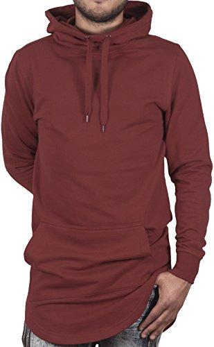 n's Back Zip Longline Funnel Neck Hoodie Sweatshirt-Burgundy-L (Back Zip Hooded Sweatshirt)
