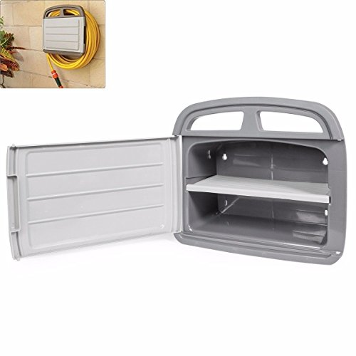 Alek...Shop Outdoor Storage Cabinet Deck Boxes Wall Mount Holder Hanger Rack Garden Multifunction, Keep The Hose Water Reel Up to 150 ft, Garage, Courtyard, - Outdoor Wall Mount Courtyard