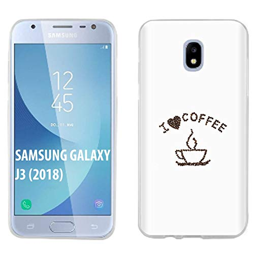 [Mobiflare] Samsung Galaxy J3 2018/Amp Prime 3/Express Prime 3/Achieve/Star/J338 Ultraflex Thin Gel Phone Cover [I Love Coffee Print] ()