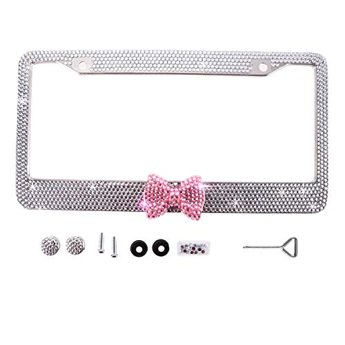 Handmade Waterproof Clear Frame W/Pink Bowknot Bling Crystal License Plate Frame Cute Rhinestone License Plate Holder for Cars/SUV/Truck