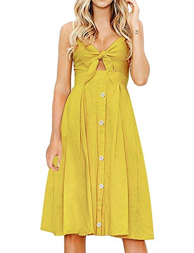 FANCYINN Womens Yellow Tie Front Button Down Spaghetti Strap Midi Dress Wheat Yellow XL