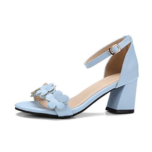 de Mujer Peep QIN Tacones Tobillo Blue Sandalias Toe Bloque amp;X Al qPwttxaE