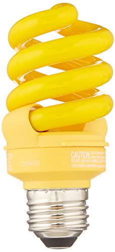 TCP CFL 60W Equivalent,  Yellow Spiral Bug Light Bulb - Yellow Bug Light Bulb