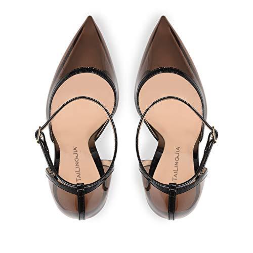 Sandales Haut Femmes Robe Hauts Cheville Fête Black Soir Bout Talon Taille Escarpins Noir Boucle Chaussures Transparent Aiguille 35 Talons 46 Pointu À Aq4Av0