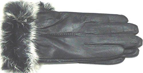 Black Leather Mink Fur Trimmed Cuff Women's Winter Gloves Size Medium - Black Leather Mink