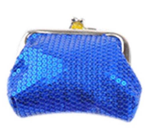 Bling Blue Pouch TM Purse Clasp GOLD Sequin KISS Change Coin Mini qgSEvxF
