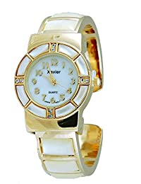 Mother of Pearl Watch Bangle Cuff Inlay Style with Crystal Accents-Gold Tone