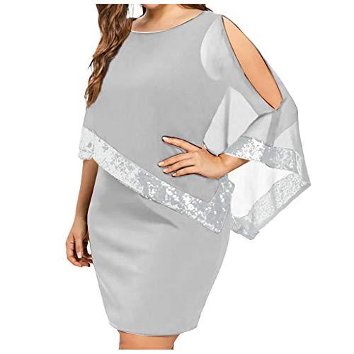 Women's Chiffon Bodycon Mini Dresses   Plus Size Sequined Overlay Party Dress   Poncho Slit Sleeve Pencil Cocktail Causal Tank Dresses (XXXXXL, Gray) ()
