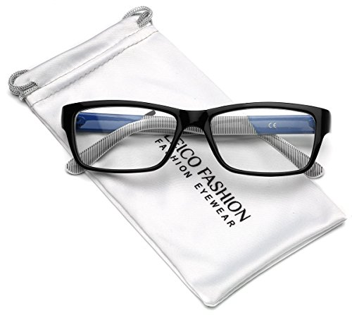 Clear Lens Rectangular Glasses (S-M Size) (Black - Blue, - Prescription Designer Cheap Glasses Non