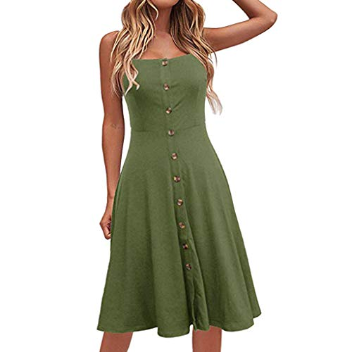 Sunhusing Ladies Solid Color Sexy Strapless Sleeveless Button-Down Waist-Tie Long Dress Casual Party Sundress Green