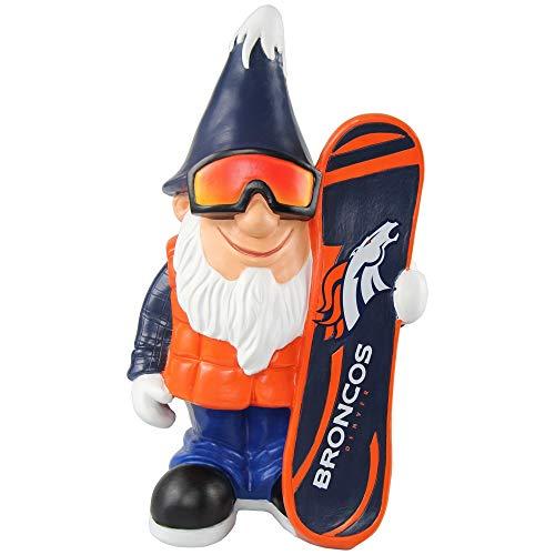 Denver Broncos NFL Garden Gnome 10.5 in, Outdoor Garden Statue with Hat Orange Color Lawn Figure Decoration Mini Figurine with Football Team Logo for Fan Team Spirit, Resin