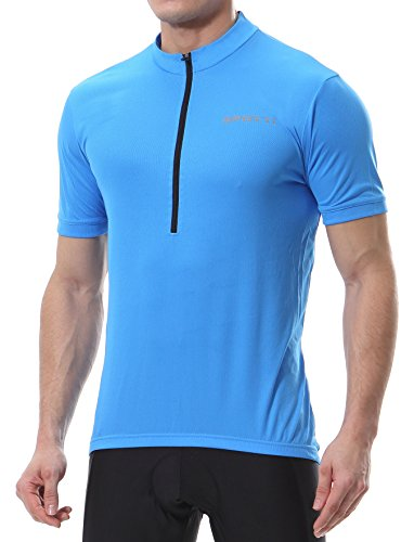 (Spotti Men's Basic Short Sleeve Cycling Jersey - Bike Biking Shirt (Blue, Large))