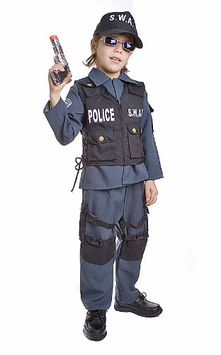 Deluxe Childrens S.W.A.T. Police Officer Costume Set Size Toddler 2