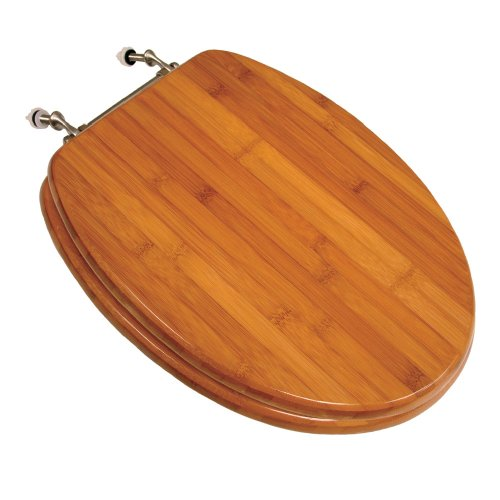 Comfort Seats C1B2E2-20BN Wood Elongated Toilet Seat with Brushed Nickel Hinges, Rattan Bamboo
