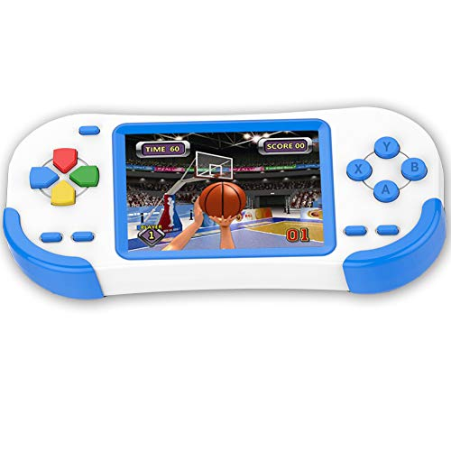 Beijue 16 Bit Handheld Games for Kids Adults 3.0'' Large Screen Preloaded 220 HD Modern Video Games Seniors Electronic Game Player for Boys Girls Birthday Xmas Present (White Blue)