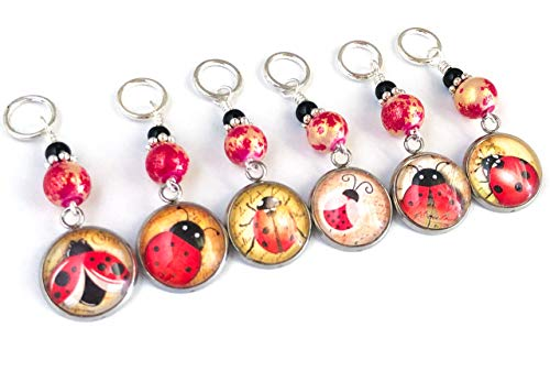 Lucky Ladybug Stitch Markers for Knitting or Crochet - Gift for Knitters