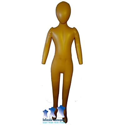 Inflatable Child Mannequin, Full-Size with head & arms, Dark Tan