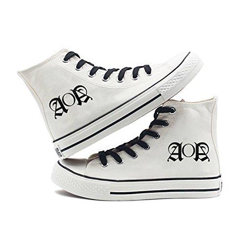 Memeber lomo Kpop Size Womens' White Fan Support Canvas Fanshion with Card Aoa Hiphop Style Sneakers Fanstown Shoes x8w6qUqg