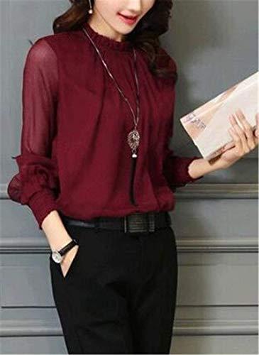 Mode Col Demi Elgante Haut Mousseline Blouse Manches Uni Fashion Chic Femme Manche Chemisier Automne Longue Rouge Printemps Haut Long Dsinvolte Manche Tops Shirt qwgWx8zO7