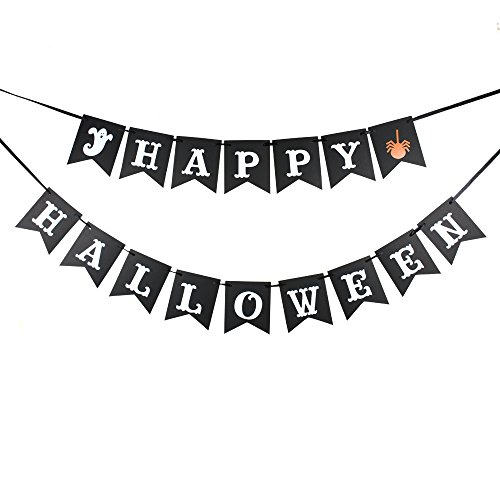 (Happy Halloween Banner for Halloween Decor with Black Card and White)