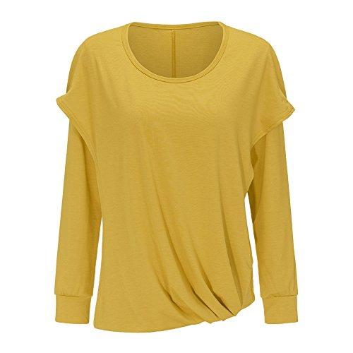 Felpe Elegante Sweatshirt Lunga Minetom Casuale Cappuccio Con Autunno Giallo Asimmetrico Hoodie Manica Donna Pullover Felpa Maglie xnw4Yw0Fq