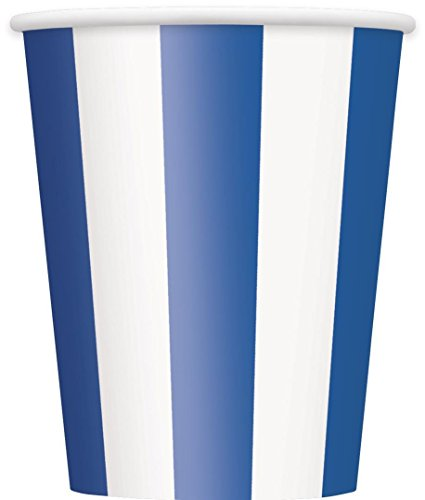 12oz Royal Blue Striped Paper Cups, (Nautical Theme Party Costume Ideas)
