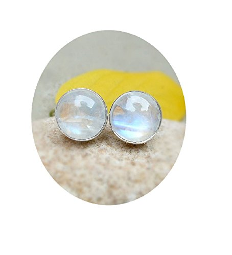 (925 Sterling Silver Round 9mm Blue Rainbow Moonstone Studs Earrings For Women, Girls, Natural Moon Stone Post Earrings)