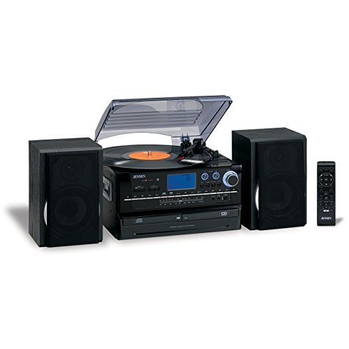 Jensen 3-Speed Turntable CD/AM/FM Music System Cassette Encoding, Dual Cd Loading, CD-R/RW Compatible with Aux Input, Remote Control & FREE Batteries Included