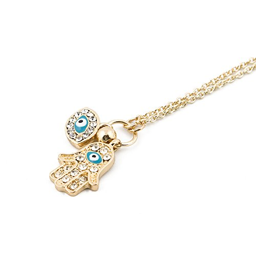 Ice Necklace Gold (MCSAYS Fashion Hip Hop Islamic Accessories 18k Gold Palted Stainless Steel Ice Out Necklace with Crystal Hand of Fatima Turkish Blue Eye Evil Eye Pendant Cuban Chain Unisex)